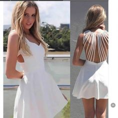 USD10.99Cheap Sexy Tank Sleeveless Back Strappy Hollow-out White Polyester Mini Dress