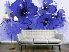 Indigo Poppy wallpaper mural