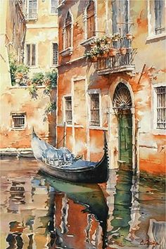 "perfect-artworks: ""Christian Graniou watercolor "" Venice watercolour by Christian Graniou Art Aquarelle, Watercolor Landscape, Watercolour Painting, Watercolors, Watercolor Paintings Tumblr, Italy Painting, Guache, Art Abstrait, Beautiful Paintings"