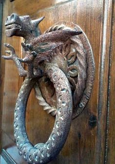 Dragon with ring door knocker