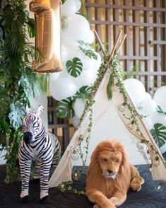 Check out the cute decorations at this Minimalist Safari 1st Birthday Party! See more party ideas and share yours at CatchMyParty.com #safari #1stbirthday