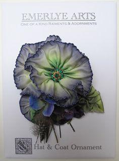 Cynthia Emerlye, Vermont artist and kirigami papercutter: Ribbonwork Hat, Coat & Hair Ornaments - Blue