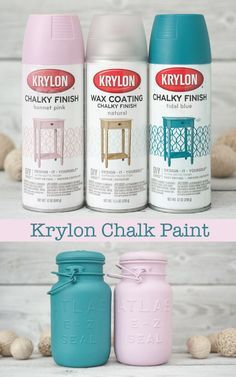 Get the look of chalk paint with Krylon Chalky Finish spray paints. They also offer a wax coating spray paint if you want the look of waxed chalk paint! Mason Jar Projects, Mason Jar Crafts, Bottle Crafts, Mason Jar Art, Pink Mason Jars, Kilner Jars, Chalk Paint Projects, Chalk Paint Furniture, Diy Projects