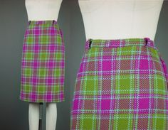 "60s Tweed Skirt Vintage 1960s Plaid Fuchsia Green Straight Fall Winter W 29"" by mustangannees on Etsy"