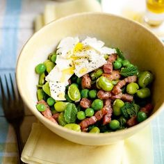Pea Broad Bean Bacon and Feta Salad With Mint Recipe. For the full recipe and more, click the picture or visit RedOnline.co.uk