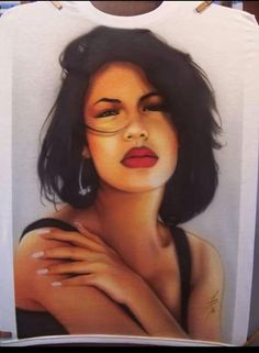 fan art: airbrushed shirt of selena by Hank Serratos