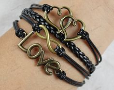 mens bracelets  bronze  heart love  by lifesunshine, $6.99