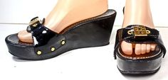TORY BURCH Rosie Black Patent Gold Logo Studded Platform Slides Wedges 8½ M #ToryBurch #PlatformsWedges