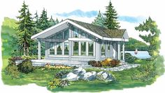 Contemporary-Modern House Plan with 817 Square Feet and 2 Bedrooms from Dream Home Source | House Plan Code DHSW04015