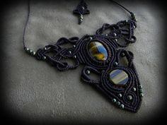 Macrame necklace, tiger's eye, bohemian jewelry, goddess necklace, tribal jewelry, spiritual jewelry, healing stone, ethnic jewelry talisman by QuetzArt on Etsy