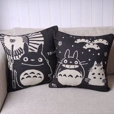 Pair of Black Totoro Series Print Decorative Pillow Covers 45CMx45CM Linen Throw Pillow Covers Sofa Cushions id-pillow covers