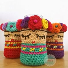 Crochet Bag Holder Free Water Bottles 57 Ideas For 2019 Crochet Cup Cozy, Crochet Home, Love Crochet, Crochet Gifts, Crochet Baby, Crochet Jar Covers, Crochet Amigurumi Free Patterns, Crochet Decoration, Crochet For Beginners