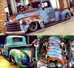 Chevy Chevrolet Advanced Design pickup truck slammed over large diameter five spoke wheels and sporting an LSX GM v8 engine with a cool patina finish to match the trucks's patina
