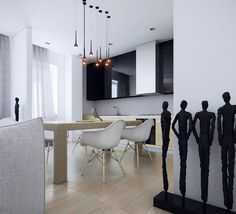 Red Mini Pendant Lights Above Full Size Dining Table Set And Modern White Dining Chairs Plus Black Wall Kitchen Cabinet