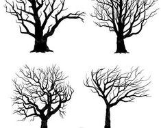 """Tree Silhouettes Clipart """"Tree SILHOUETTES"""" clip art pack,Tree Branchs,Branchs,Silhouettes,Branch,Scrapbook, Instant Download Sh003"""
