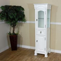Bellaterra Home Linen Cabinet Wood White 205065 TOWER WH