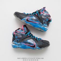 a192310e255f 902 363 James 1 2 Basket Sneaker Nike Lebron 12 P.s Elite Transparent Ice  Blue Outsole Join Wrapped In The Full Colour Hexagona