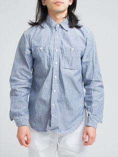 ENGINEERED GARMENTS WORK SHIRT-BLUE COTTON CHAMBRAY - GENTRY NYC - 6