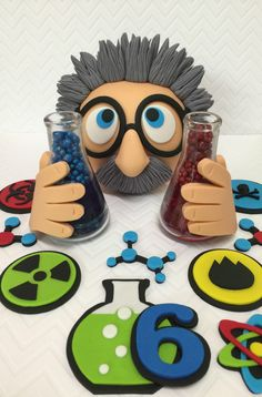 Fondant Mad Scientist Cake Topper Set Mad by CherryBayCakes