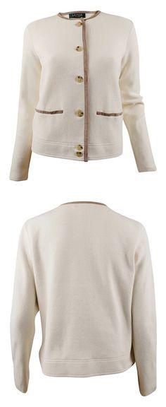 Ralph Lauren Women's Plus Size Faux-Suede-Trimmed Cotton Cardigan Journey Cream #ralphlauren