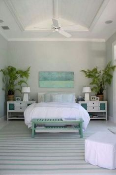 What a serene selection of colors for the bedroom . Lots of crisp white and ul. What a serene selection of colors for the bedroom . Lots of crisp white and ultra-pale blue, with the prettiest green palms. House of Turquoise: Molly Frey Design Bedroom Themes, Bedroom Colors, Bedroom Decor, Bedroom Ideas, Design Bedroom, Bedroom Ceiling, Bedroom Photos, Bedroom Furniture, Coastal Furniture