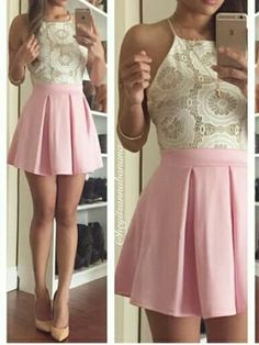 Chic Homecoming Dress Halter A-line Lace Pink Short Prom Dress Satin Party Dress JK532