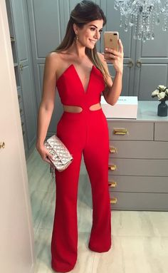 Women's Clothing F 2017 New Women Long Sleeve Jumpsuits Bodycon Bandage Cross Playsuits Women Red Trousers Elegant In Style