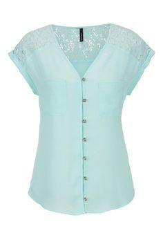 lace shoulder chiffon top - maurices.com