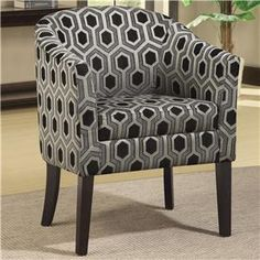 """Charlotte Hexagon Patterned Accent Chair with Wood Legs Width (side to side)27"""" W Height (bottom to top)34"""" H Length (front to back)24"""" L"""