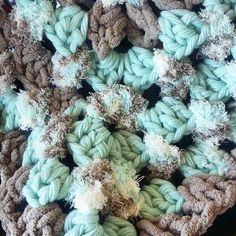 Textures textures!!! #photographerprop #blanketprop #crochetblanket #teal #taupe #bernat by crochetchick