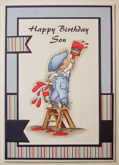 Mrs B's Blog: Lili Of The Valley Birthday Cards For Men, Handmade Birthday Cards, Man Birthday, Handmade Cards, Boy Cards, Kids Cards, Men's Cards, Craft Cards, Penny Black Cards