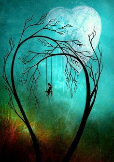 Girl Swinging Under Heart Shaped Trees Under Moonlight
