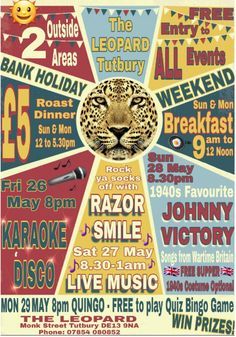 It's officially the weekend, beer o clock & the start of a fun packed & varied Bank Holiday Weekend at The Leopard Tutbury  kicking off at 8pm tonight with Karaoke Disco!
