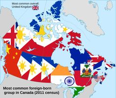 Most common foreign-born group in Canada by province/territory.