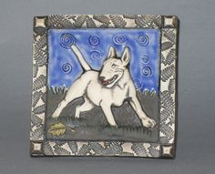 Bull terrier in the moonlight with decorative by debrabacianga, $40.00