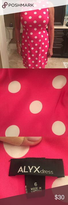 ALYX Polka Dot Dress Pink and White polka dot dress with zipper closure in back. Alyx Dresses