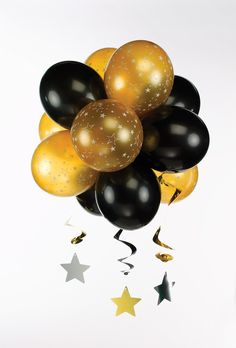 Black And Gold Party Supplies | Black & Gold Topiary balloon display