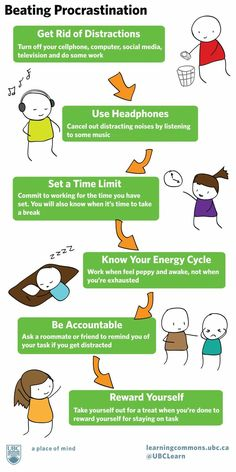 Here's a great infographic on beating procrastination. Procrastination is the physical manifestation of fear. Study Skills, Study Tips, Life Skills, College Hacks, College Life, School Hacks, School Tips, How To Stop Procrastinating, Time Management Tips