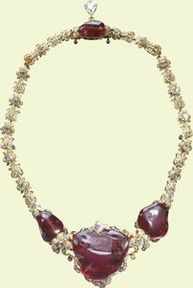 The 'Timur Ruby' necklace c. 1853. Description: Spinels, diamonds, gold, enamel. The spinels from the Lahore Treasury, 1849; presented to Queen Victoria by the Directors of the East India Company, 1851;altered for Queen Mary