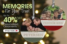 PersonalizationMall has the best Christmas Ornaments and they're having a big sale this week! You can save up to 40% off all their Personalized Ornaments! They make great Christmas gifts - you have to check them out!