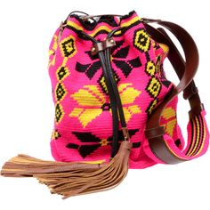 SARA BATTAGLIA 'Mochila' Hand-woven Tribal Bucket Bag (2,540 CNY) found on bucket bags桶袋20130617