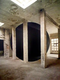 French architectural photographer Georges Rousse finds inspiration in forgotten spaces, creates one-of-a-kind installations in abandoned and derelict buildings, then photographs them. His aesthetics are straightforward: painting fundamental shapes like circles and squares in bold colors that only reveal themselves when seen at a certain angle. From this unique standing point, the pieces all line up to form a unified shape.