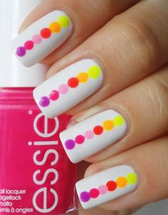 So easy! Just dot different colours onto a white painted nail using a dotting tool, bobby pin or normal pin, or even a toothpick!