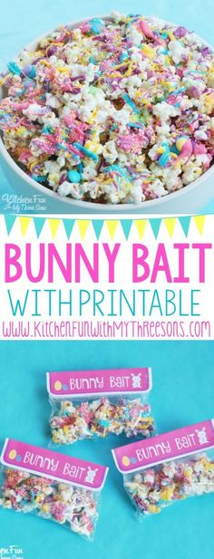 Easter Bunny Bait White Chocolate Funfetti Popcorn with a Free Printable from http://KitchenFunWithMy3Sons.com | An easy treat that the kids can help make!