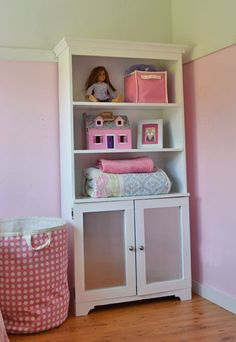 Armoire with Open Shelves and Magnetic Doors - this would be great for dog gear storage