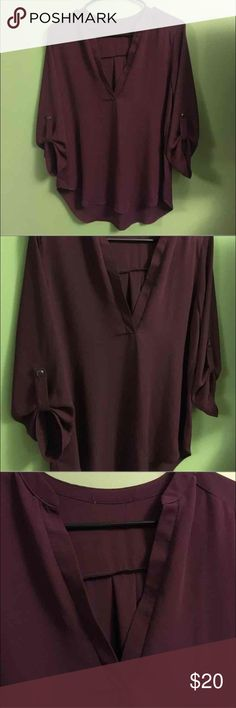 Women's Maroon Blouse M Size Medium Worn once I ripped off the tag cause it was bothering me, but on the inside of the shirt is a tag that says it's a Medium No problems at all! I paid about $45 for the shirt at Dry Goods Tops Blouses