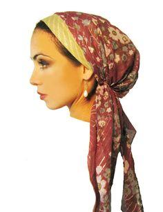 Tichel, Hair Snood, Head Scarf, Pre Tied Bandana Alternative: Plum Purple Floral Long Lurex. . . see many more styles in shop