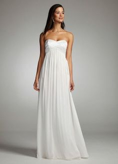 David's Bridal Chiffon Gown with Beaded Strapless Bodice Style 54602-B $179.00