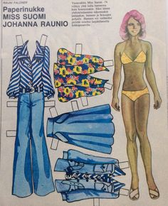 Miss Finland Johanna Raunio Fabric Doll Pattern, Fabric Dolls, Dress Up Dolls, Vintage Paper Dolls, Pretty Woman, Two Piece Skirt Set, Retro, Lady, Finland