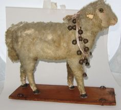 ANTIQUE WOOLEY SHEEP LAMB VICTORIAN PULL TOY $1,325